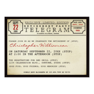Telegram Style Retirement Party Invitation