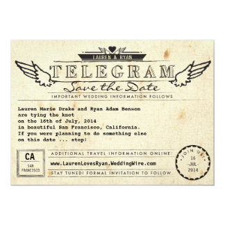 Telegram Vintage Travel Winged Heart Save the Date Card