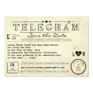 Telegram with Hearts Vintage Travel Save the Date 5x7 Paper Invitation Card