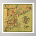 Telegraph Boston Railroad Map 1854 Poster