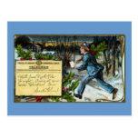 Telegraph Boy Making Delivery Vintage Christmas Postcard