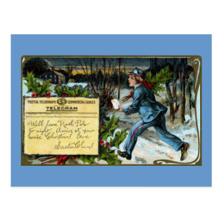 Telegraph Boy Making Delivery Vintage Christmas Postcard