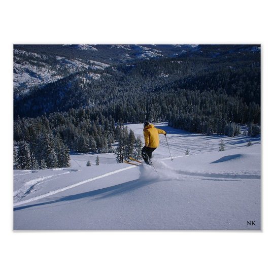 Telemark Skiier Takes Flight Poster