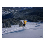 Telemark Skiier toma vuelo Posters