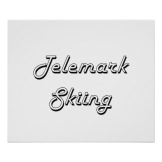 Telemark Skiing Classic Retro Design Poster
