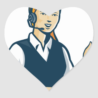 Telemarketer Call Center Operator Retro Heart Sticker
