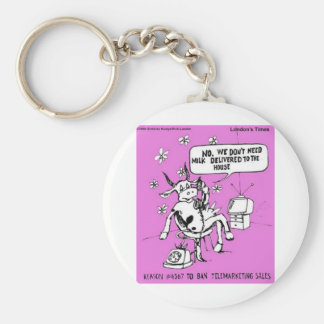 Telemarketing Cows Funny Tees Gifts & Collectibles Basic Round Button Keychain