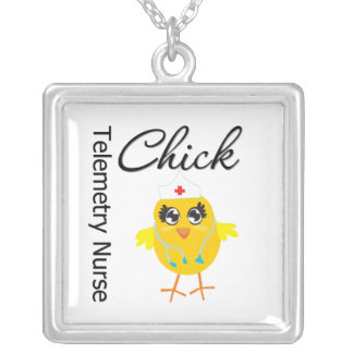 Telemetry Nurse Chick v1 Square Pendant Necklace