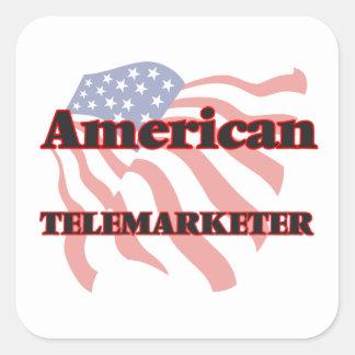 Teleoperador americano pegatina cuadrada