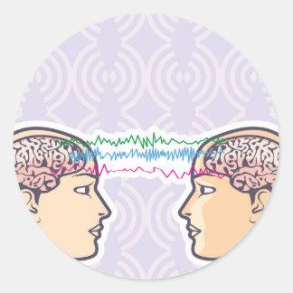 Telepathy Between Human Brains via Brainwaves Classic Round Sticker