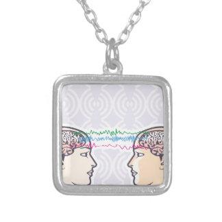 Telepathy Between Human Brains via Brainwaves Silver Plated Necklace