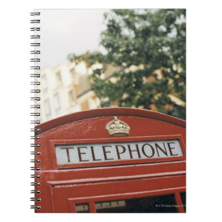 Telephone booth in London England Spiral Notebook