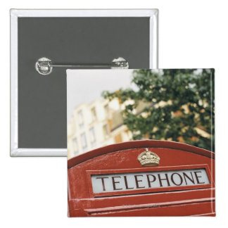 Telephone booth in London England Pinback Button
