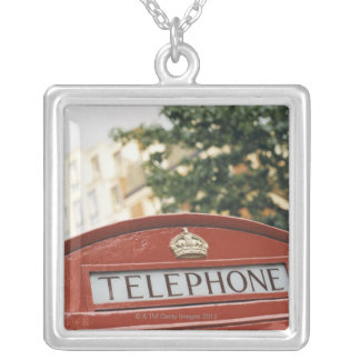 Telephone booth in London England Silver Plated Necklace