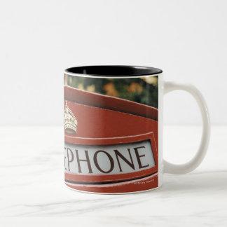 Telephone booth in London England Two-Tone Coffee Mug
