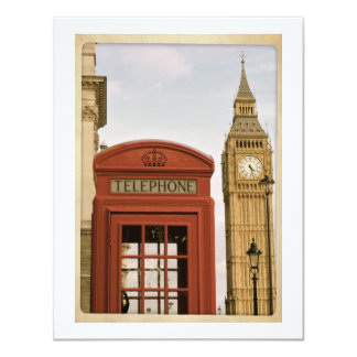 Telephone Box and Tower of Big Ben Card