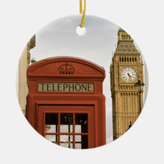 Telephone Box and Tower of Big Ben Ceramic Ornament