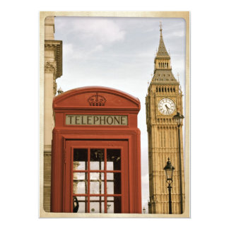 Telephone Box and Tower of Big Ben 5.5x7.5 Paper Invitation Card
