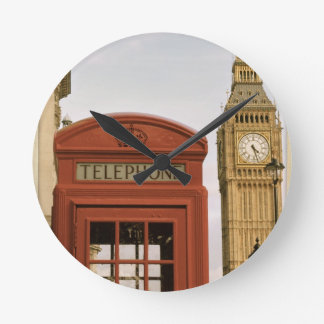 Telephone Box and Tower of Big Ben Round Clock