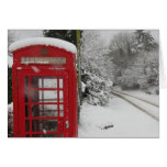 Telephone Box in snow blank Note Card
