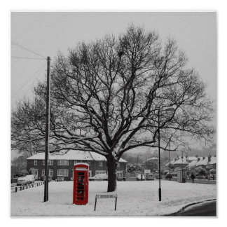 Telephone Box in the Snow Poster