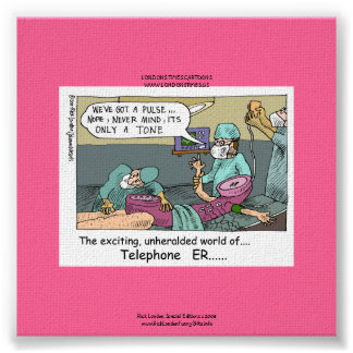 Telephone Code Blue Cartoon Funny Canvas Print