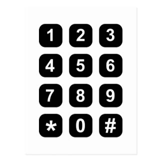Telephone dial numbers postcard