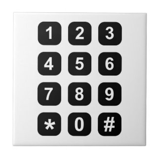 Telephone dial numbers small square tile