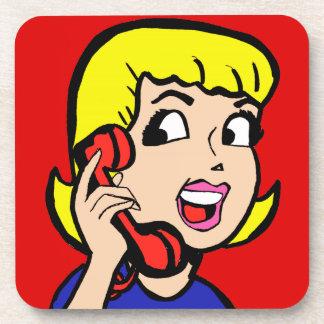 Telephone Girl Comic Strip Cork Coasters