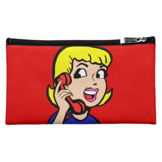 Telephone Girl Comic Strip Cosmetic Bag