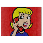 Telephone Girl Comic Strip Cutting Board