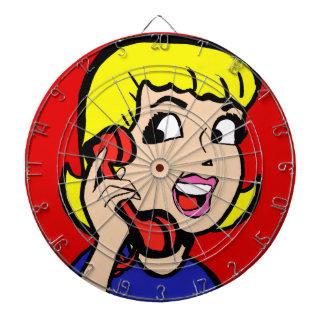 Telephone Girl Comic Strip Dart Board