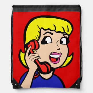Telephone Girl Comic Strip Drawstring Backpack