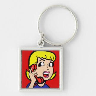 Telephone Girl Comic Strip Keychain