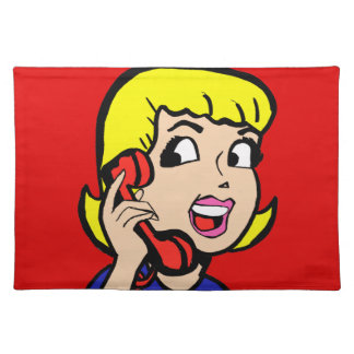 Telephone Girl Comic Strip Placemat Cloth Place Mat