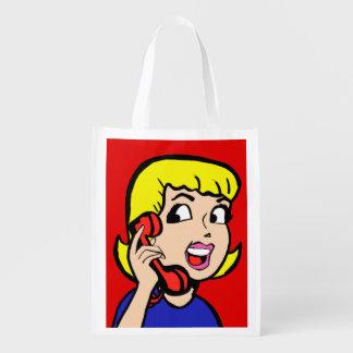 Telephone Girl Comic Strip Reusable Grocery Bag