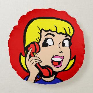 Telephone Girl Comic Strip Round Pillow