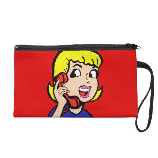 Telephone Girl Comic Strip Wristlet