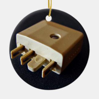 Telephone plug to standard RJ-11 adaptor Double-Sided Ceramic Round Christmas Ornament
