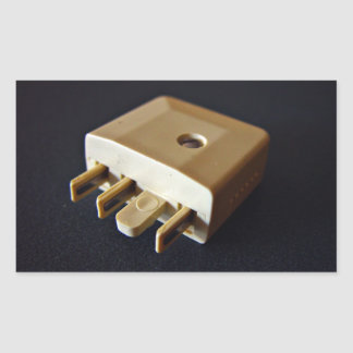 Telephone plug to standard RJ-11 adaptor Rectangular Sticker