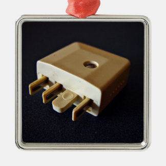 Telephone plug to standard RJ-11 adaptor Square Metal Christmas Ornament