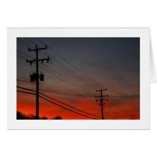 Telephone Pole Sunset Card