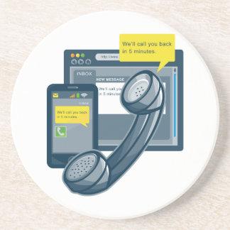 Telephone Smartphone Website Call Back Sandstone Coaster