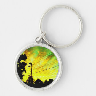 telephone sunset Silver-Colored round keychain