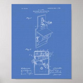 Telephone Toll 1904 Patent Art Blueprint Poster