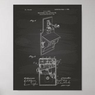 Telephone Toll 1904 Patent Art Chalkboard Poster