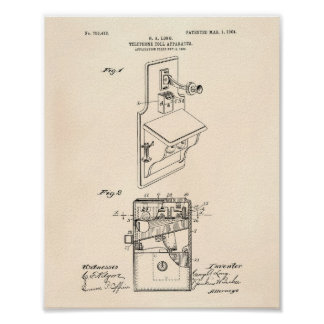 Telephone Toll 1904 Patent Art Old Peper Poster