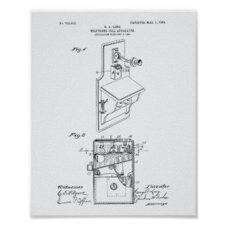 Telephone Toll 1904 Patent Art White Paper Poster