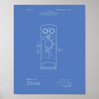 Telephone Toll 1906 Patent Art Blueprint Poster