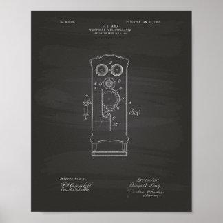 Telephone Toll 1906 Patent Art Chalkboard Poster